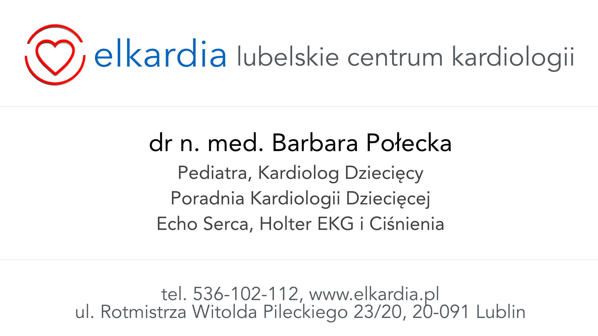 Dr Barbara Połecka | Kardiolog Dziecięcy w Lublinie|